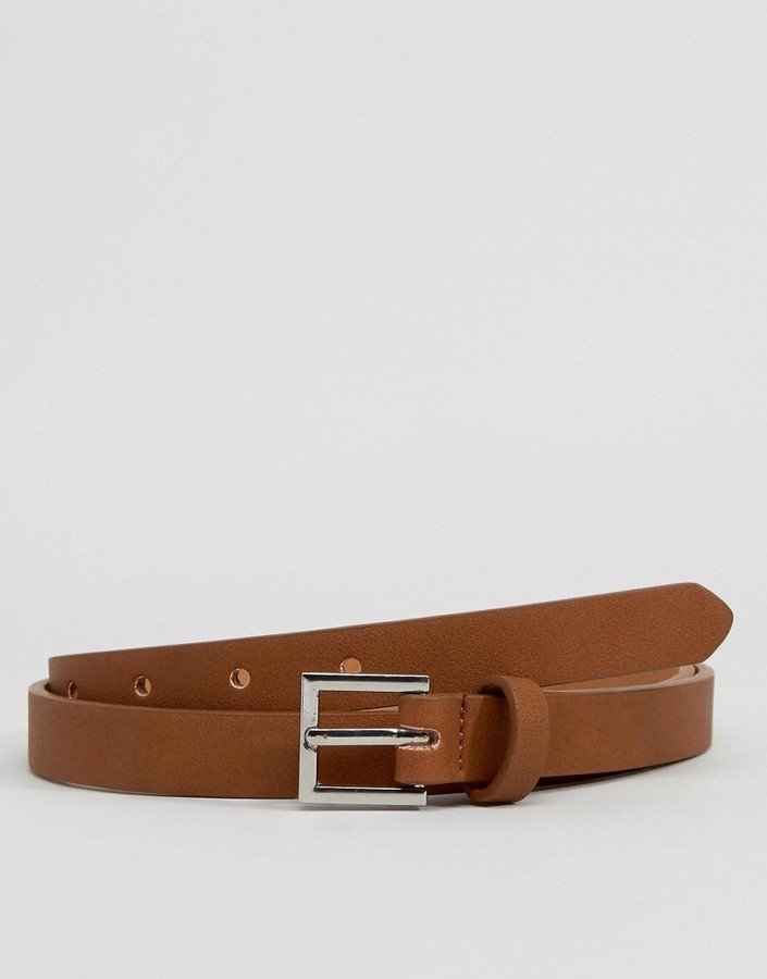 Asos Smart Super Skinny Belt In Tan Faux Leather