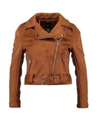 Biker faux leather jacket tan medium 6709031