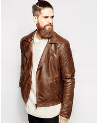 Asos Brand Faux Leather Biker Jacket In Brown