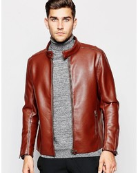 Asos Brand Faux Leather Racing Biker Jacket