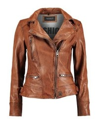 Leather jacket tan medium 4240027