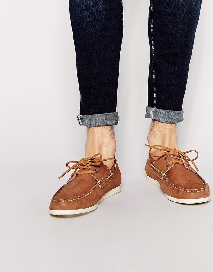 ... Asos ASOS BRAND ASOS Boat Shoes in Washed Leather
