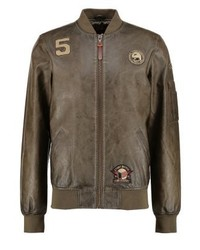 INDICODE JEANS Diego Faux Leather Jacket Beetle