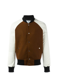 AMI Alexandre Mattiussi Leather Sleeve Bomber Jacket Brown