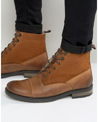 Asos Lace Up Boots In Tan Leather With Faux Shearling Lining