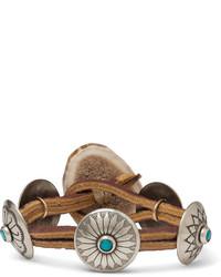 Yuketen Leather Silver Tone Horn And Turquoise Bracelet