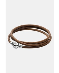 Pandora Leather Wrap Charm Bracelet Brown