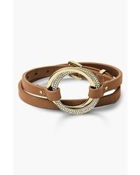 MICHAEL Michael Kors Michl Kors Statet Brilliance Leather Wrap Bracelet