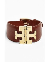 Tory Burch Wide T Hinge Leather Bracelet
