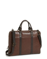 Fossil Estate Leather Briefcase Dark Brown One Size