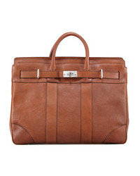 Brunello Cucinelli Turn Lock Leather Briefcase Cognac