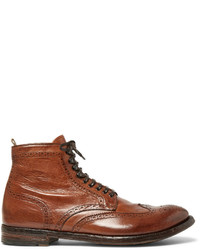 Officine Creative Anatomia Burnished Leather Brogue Boots