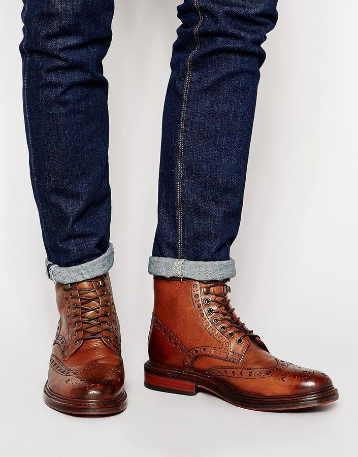 sports shoes eb7ee ff3c3 £139, Base London Berners Leather Scotchgrain Brogue Boots