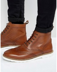 Brogue boots in tan leather with white sole medium 1033681