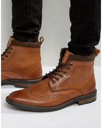 Lace up brogue boots tan leather medium 966719