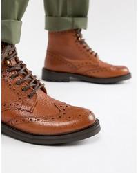 WALK LONDON Sean Brogue Boots In Tan Leather