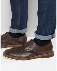 Frank Wright Textured Brogues In Brown Leather