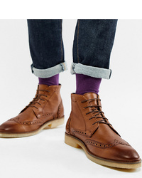 ASOS DESIGN Wide Fit Brogue Boots In Tan Leather With Sole