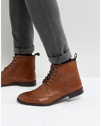 ASOS DESIGN Asos Brogue Boots In Tan Leather