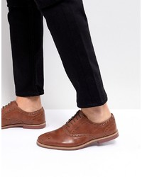 ASOS DESIGN Asos Brogue Shoes In Tan Faux Leather With Contrast Sole