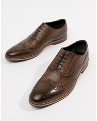 ASOS DESIGN Brogue Shoes In Brown Leather With Sole And Colour Details