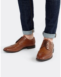 ASOS DESIGN Brogue Shoes In Tan Faux Leather
