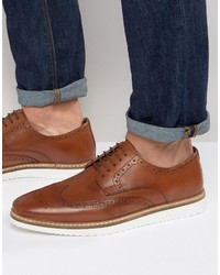Asos Brogue Shoes In Tan Leather With White Wedge Sole