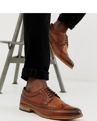 ASOS DESIGN Wide Fit Brogue Shoes In Polished Tan Leather