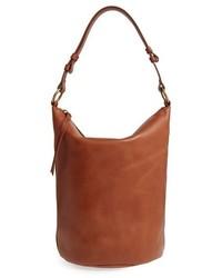 O ring leather bucket bag red medium 951681