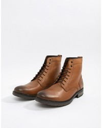 ASOS DESIGN Asos Lace Up Boots In Tan Leather With Chunky Sole
