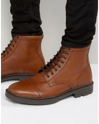 Lace up boots in tan scotchgrain leather with toe cap medium 1155721