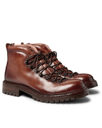 Officine Creative Manchester Shearling Lined Grained Leather Hiking Boots