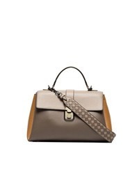 Bottega Veneta Taupe Piazza Leather Shoulder Bag
