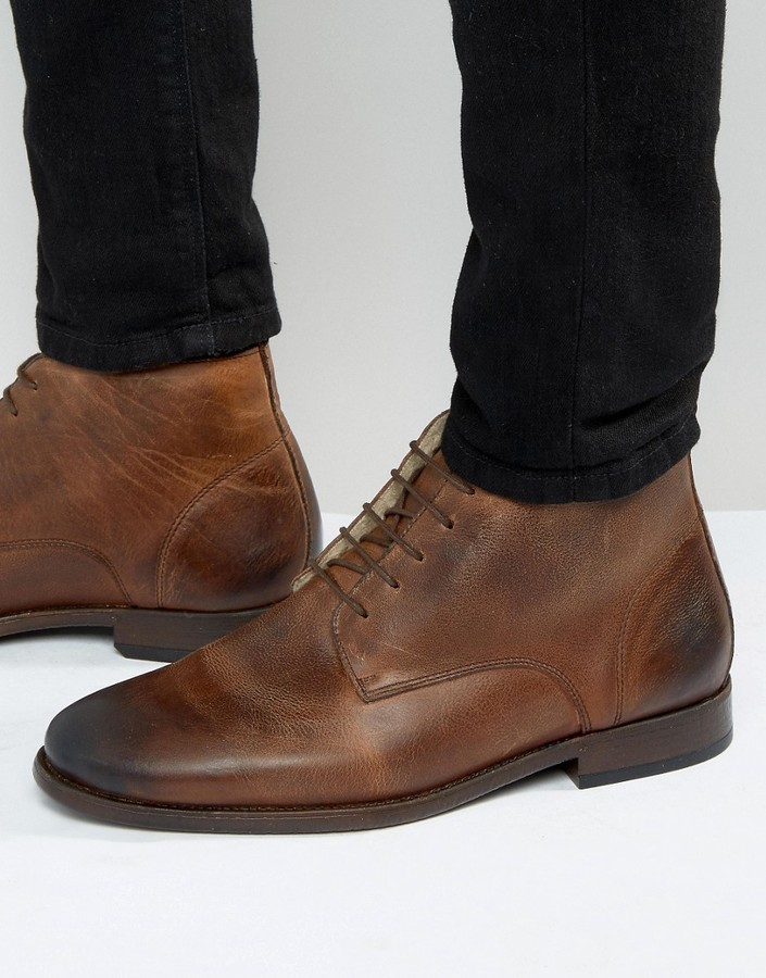 Asos Chukka Boots In Brown Leather With Fleece Lining 27 Asos