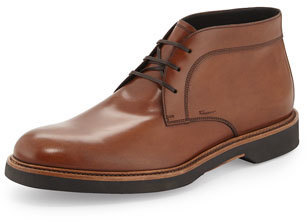 Salvatore Ferragamo Malik Leather Chukka Boot Brown 609 Bergdorf