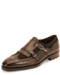 Salvatore Ferragamo Ferragamo Marlin Double Monk Shoe Brown