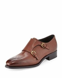 Salvatore Ferragamo Galati Double Monk Strap Textured Loafer Brown