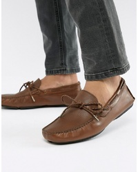 Dune Driving Shoes In Tan Leather