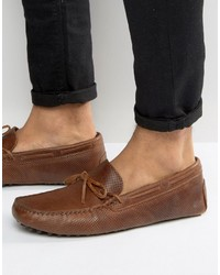 Asos Loafers In Tan Leather With Perforated Detail