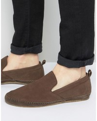 Slip on espadrilles shoes in brown leather medium 3706521