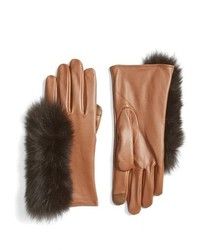 Touchscreen compatible gloves with genuine fox fur trim medium 827881