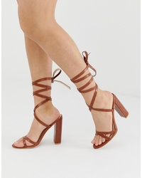 SIMMI Shoes Simmi London Heidi Tan Ankle Tie Block Heeled Sandals