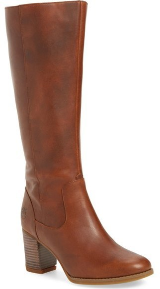 timberland brown leather knee high bottes