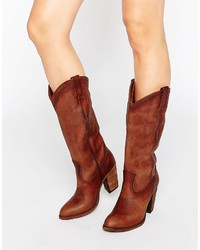 Frye Jackie Button Western Leather Heeled Knee Boots