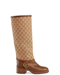 Gucci Leather Boot With Gg Gaiter