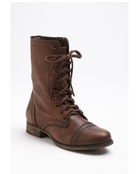 Brown Leather Lace-up Flat Boots