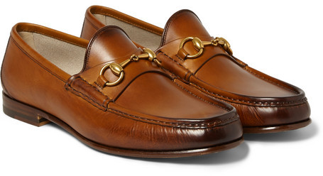 7d3ba5525 ... Brown Leather Loafers Gucci Burnished Leather Horsebit Loafers ...