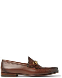 Gucci Horsebit Burnished Leather Loafers