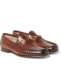 Gucci Roos Horsebit Burnished Leather Loafers