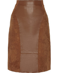 Dia paneled leather and suede pencil skirt medium 354179